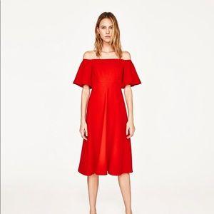 Zara Red Off-shoulder Dress